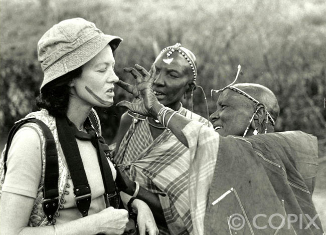 Christine Osborne and Masai, Kenya 1976