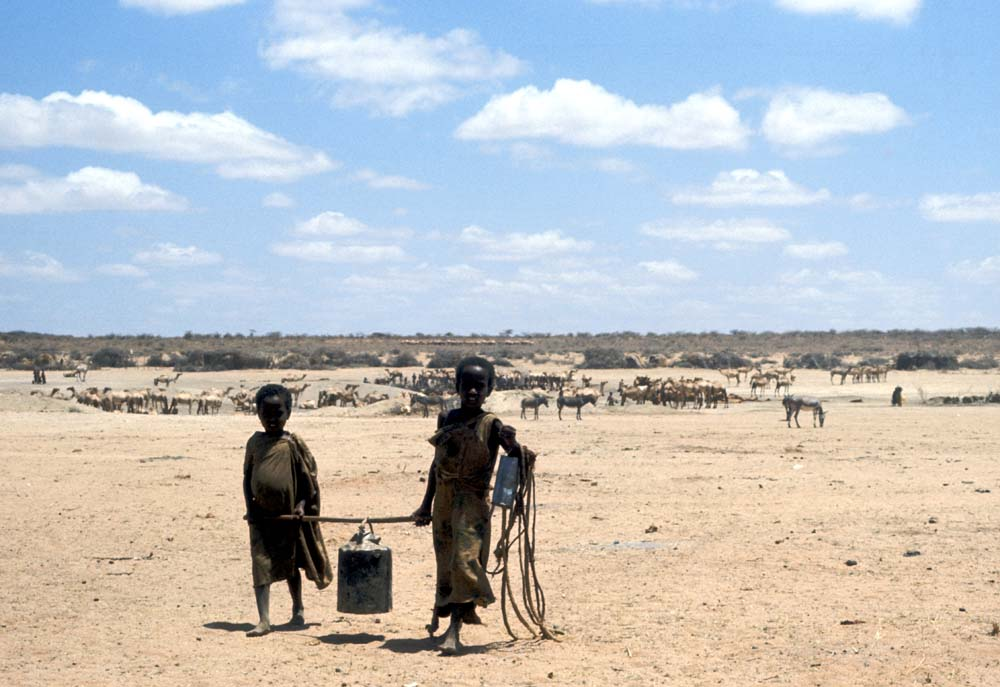 Two children carrying a tin of water in the drought stricken region of east Ethiopia