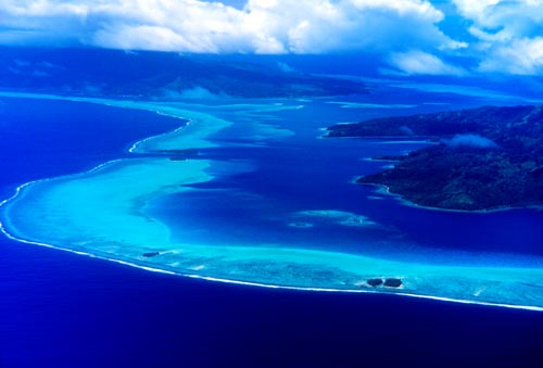 The turquoise lagoon where I hand fed sharks off Bora Bora