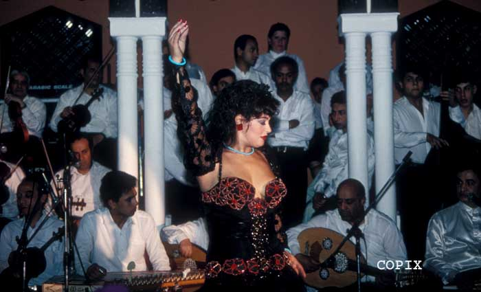 Famous belly-dancer Fifi Abdou dancing at the Cairo Sheraton in 1980, Egypt