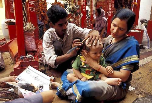 Mundan ceremony when a Hindu boy gets his first haircut