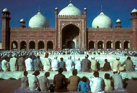 Eid el Fitr prayers in the Badshahi Mosque Lahore Pakistan
