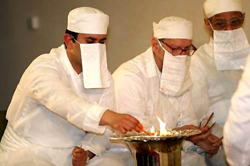 Zoroastrian fire ceremony.
