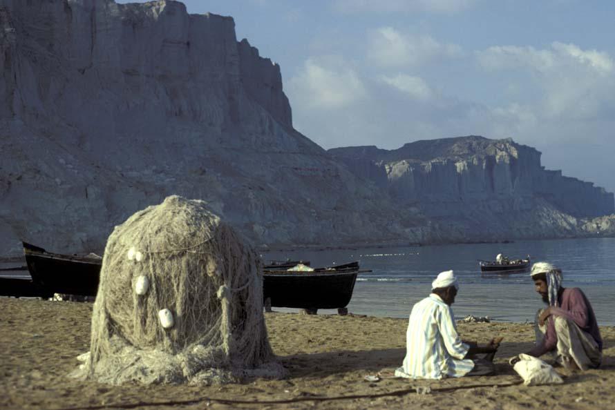 Fishermen, nets and boats Gwadar Bay, Makiran Coast of Pakistan in 1981
