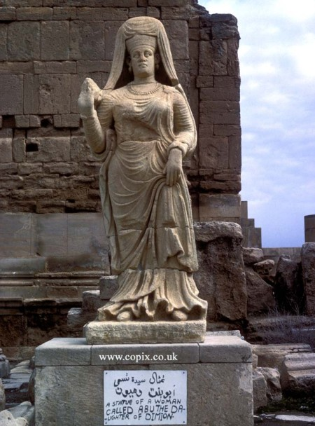 Statue of a woman called Abu, daughter of Dimion, from the ancient city of Hatra in present-day Iraq. Her dress suggests she came from a wealthy background and she could well have been a Hatrene goddess   around 100 AD.