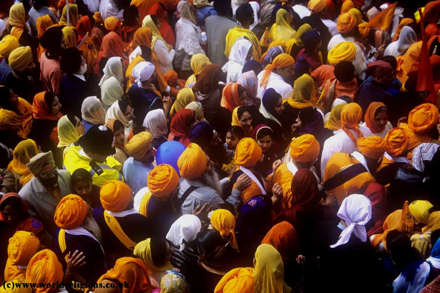 Policeman and Sikhs, procession in Southall London