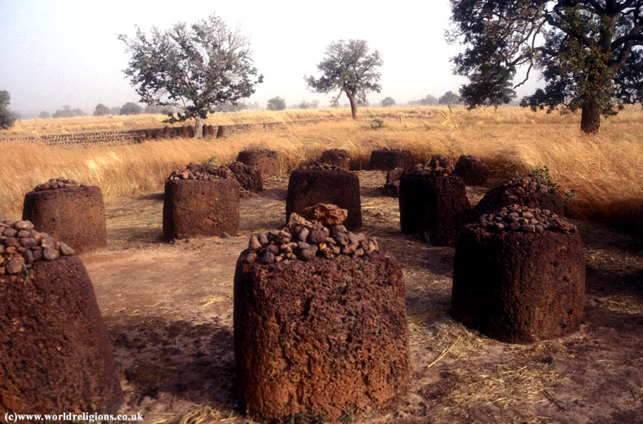 Ancient stone circle at Wassau in the upper river division of the Gambia, West Africa
