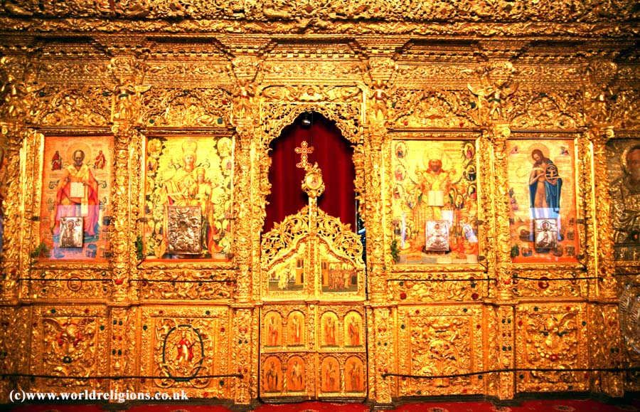 Royal door in the iconostasis of St John` Cathedral in Nicosia Cyprus