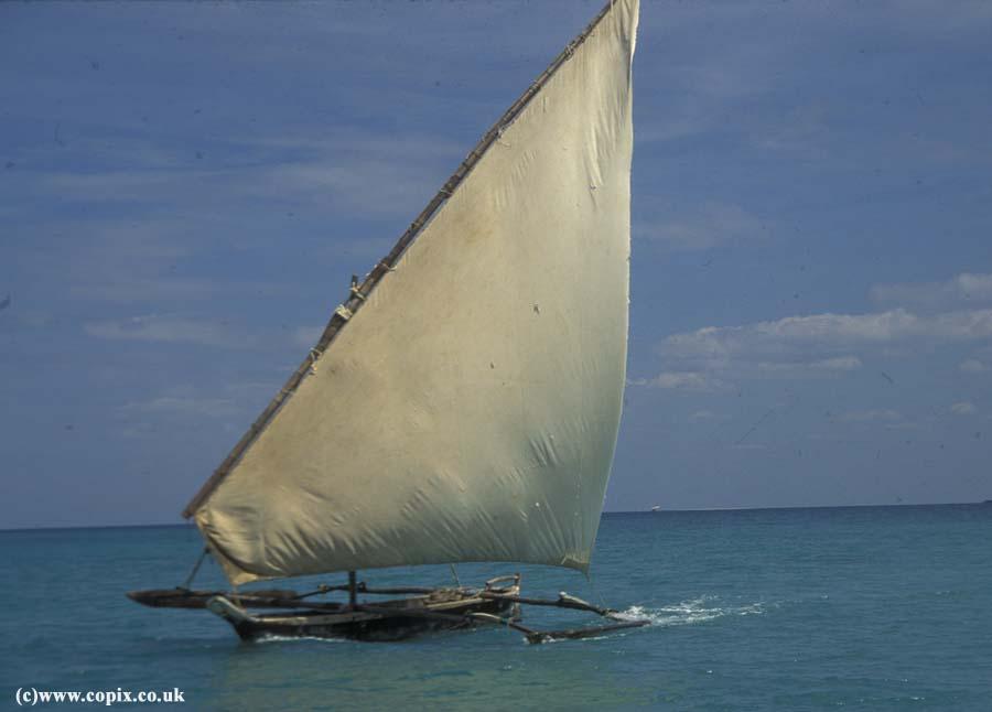 Ngalawa outrigger boat off Zanzibar, Tanzania
