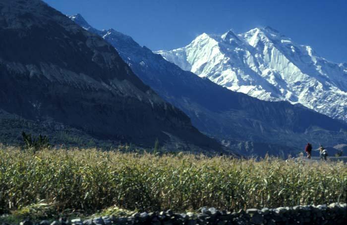 Hunza Valley with backdrop of Karakoram Mountains
