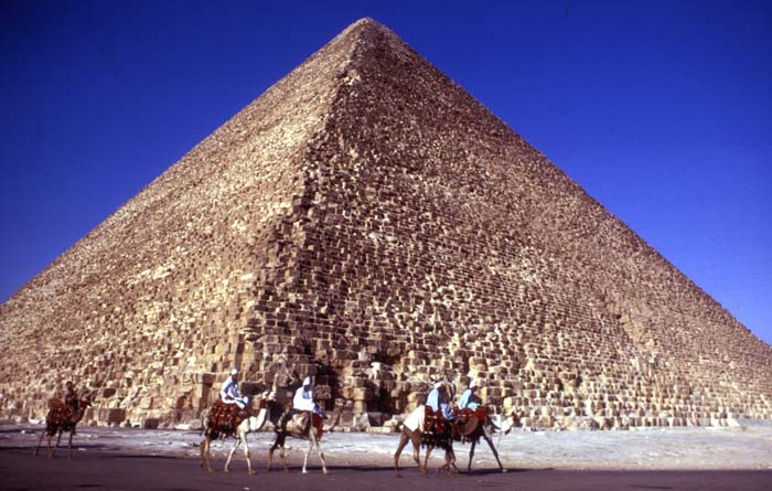 Tour guides ride camels past Cheops pyramid Giza Egypt