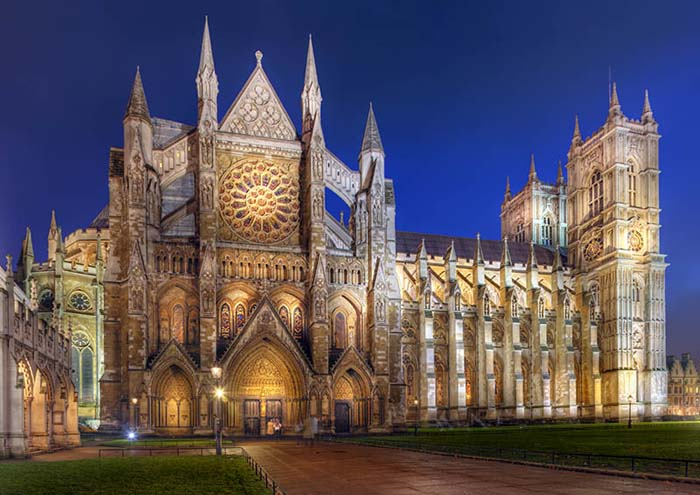 """The Collegiate Church of St Peter at Westminster, London - """"Westminster Abbey"""" at night."""